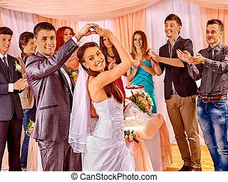 grupo casamento, pessoas, dance.