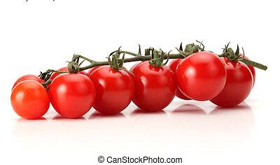 grupo, cereja fresca, tomate