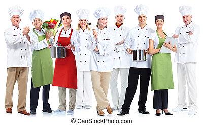 grupo, chefs.