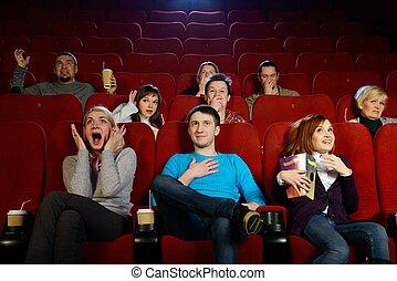 grupo, cine, Película, gente, joven, Mirar