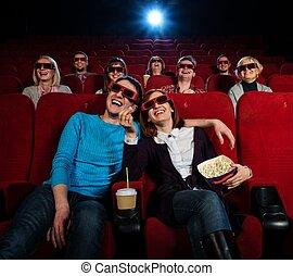 grupo, cinema, filme, observar, pessoas, vidros 3d