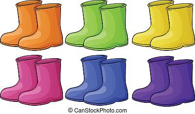 grupo, colorido, botas