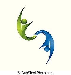 grupo, colorido, gente, icons., vector, activo, logotipo, logo., diseño
