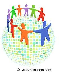 grupo, coloridos, solidariedade