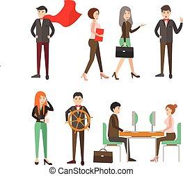 grupo, comércio pessoas, e, trabalho equipe