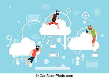 grupo, computando, tecnologia, online, internet, dados, casual, nuvem, homem