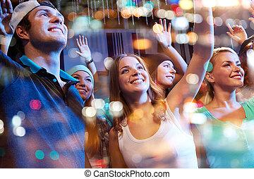 grupo, concerto, clube, noturna, amigos, feliz
