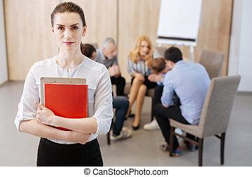 grupo, confiante, psicólogo, sessão, terapia, profissional, tendo