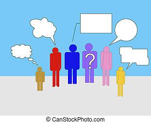 grupo, conversando