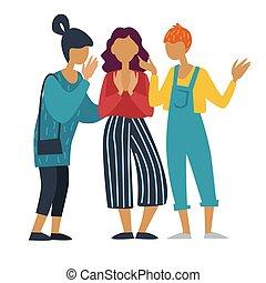 grupo, conversando, meninas, namoradas, falando, fofoque, adolescentes, ou