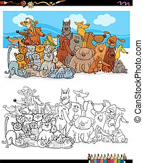 grupo, cor, cachorros, gatos, caráteres, livro
