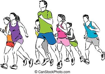 grupo, corredores, ilustración