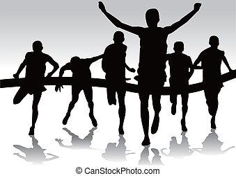 grupo, corredores, maratón