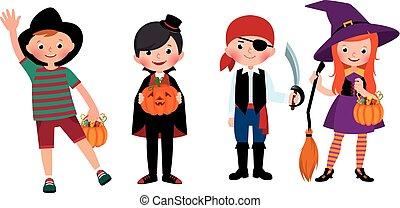 grupo, costumes., dia das bruxas, ilustração, crianças, vetorial, caricatura