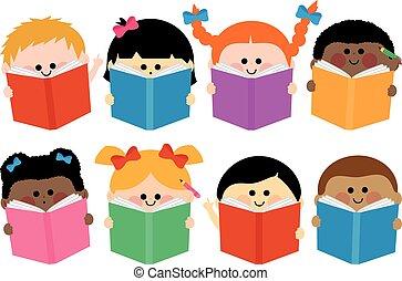 grupo crianças, ícones, leitura, livros