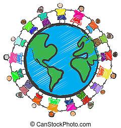 grupo crianças, com, diferente, raças, segurar passa