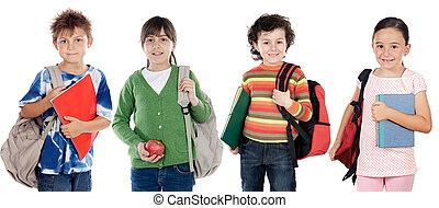 grupo crianças, estudantes