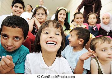 grupo, crianças, felicidade, união