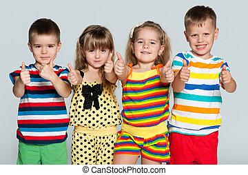 grupo, crianças