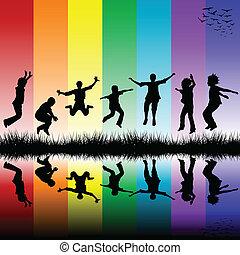grupo crianças, pular, um, arco íris, experiência listrada