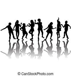 grupo crianças, silhuetas, dançar