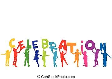grupo crianças, silhuetas, segurando, letras, com, palavra, celebração