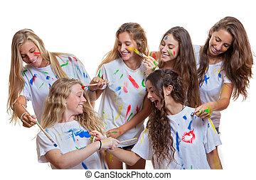 grupo crianças, tendo divertimento, com, sujo, pintura