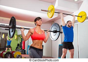 grupo, crossfit, peso, gimnasio, condición física, barra, ...