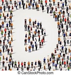 grupo, d, forma, pessoas, grande, letra