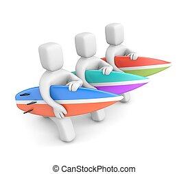 grupo, de, 3d, homem, com, um, surfboards