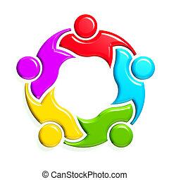 grupo, de, 5, people-holding, em, circle., 3d, desenho, em, fundo branco