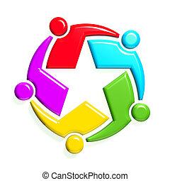 grupo, de, 5, people-star, em, circle., 3d, desenho, em, fundo branco