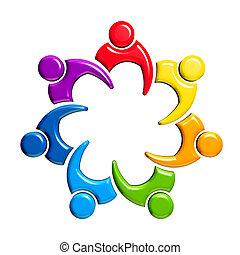 grupo, de, 7, people-meeting, em, circle., 3d, desenho, em, fundo branco