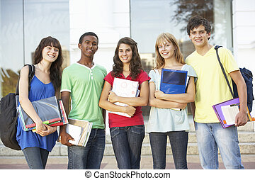 grupo, de, adolescente, estudiantes, posición, exterior,...