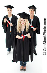 grupo, de, adolescentes, celebrar, después, graduación