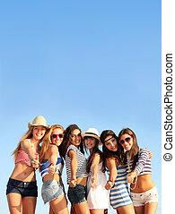 grupo, de, adolescentes, ligado, praia, férias verão, ou, ruptura mola