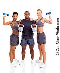 grupo, de, adulto jovem, exercitar
