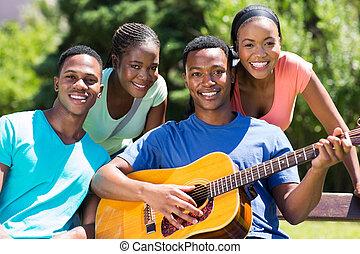 grupo, de, africano, faculdade, amigos