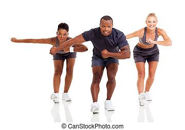 grupo, de, ajustar, adulto jovem, exercitar