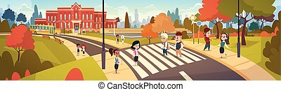 grupo, de, alumnos, ambulante, en, crosswalk, mezcla, carrera, estudiantes, ir, a, eduque cruce, calle