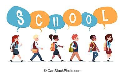 grupo, de, alumnos, mezcla, carrera, ambulante, back to la escuela, alumnos, aislado, diverso, pequeño, primario, estudiantes