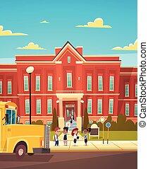 grupo, de, alumnos, mezcla, carrera, estante, delante de, escuela, edificio, primario, alumnos, hablar, estudiantes