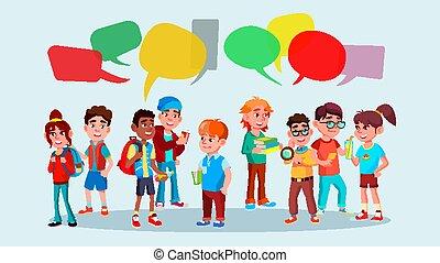 grupo, de, alumnos, vector., school., mezcla, race., charla, bubbles., comunicación, social, network., social, group., plano, caricatura, ilustración
