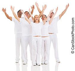 grupo de amigos, brazos up