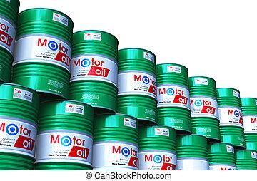 grupo, de, apilado, barriles, con, aceite de motor, lubricante, aislado, blanco
