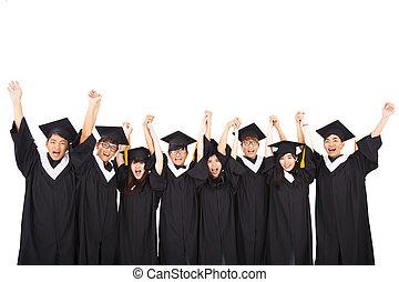 grupo, de, asiático, estudiantes, celebrar, graduación