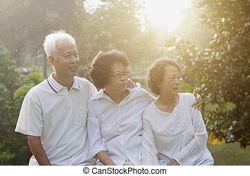 grupo, de, asiático, seniors, en, aire libre