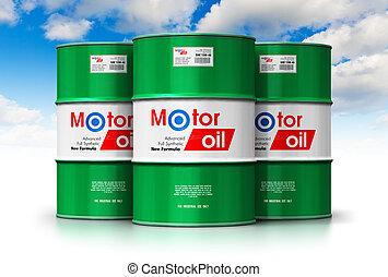 grupo, de, barriles, con, aceite de motor, lubricante, contra, cielo azul