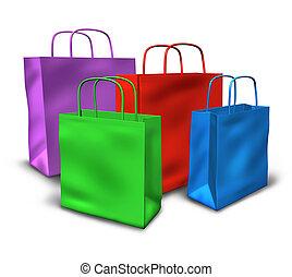 grupo, de, bolsas de compras