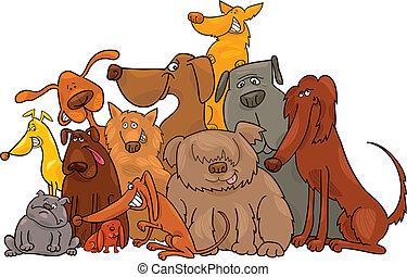 grupo, de, cachorros